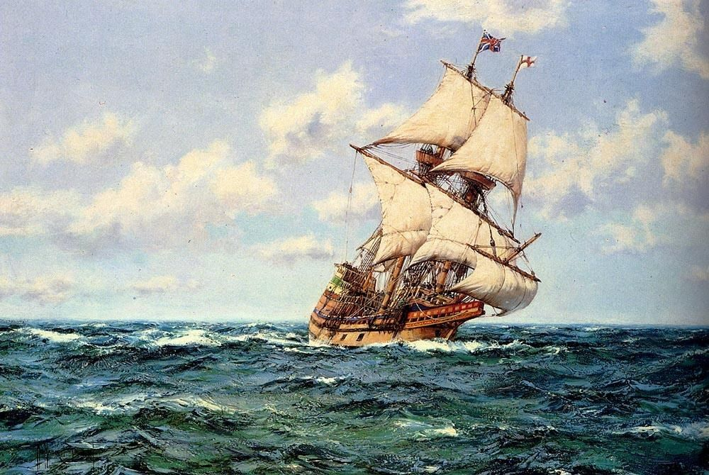 Montague Dawson Mayflower II on the Open Seas