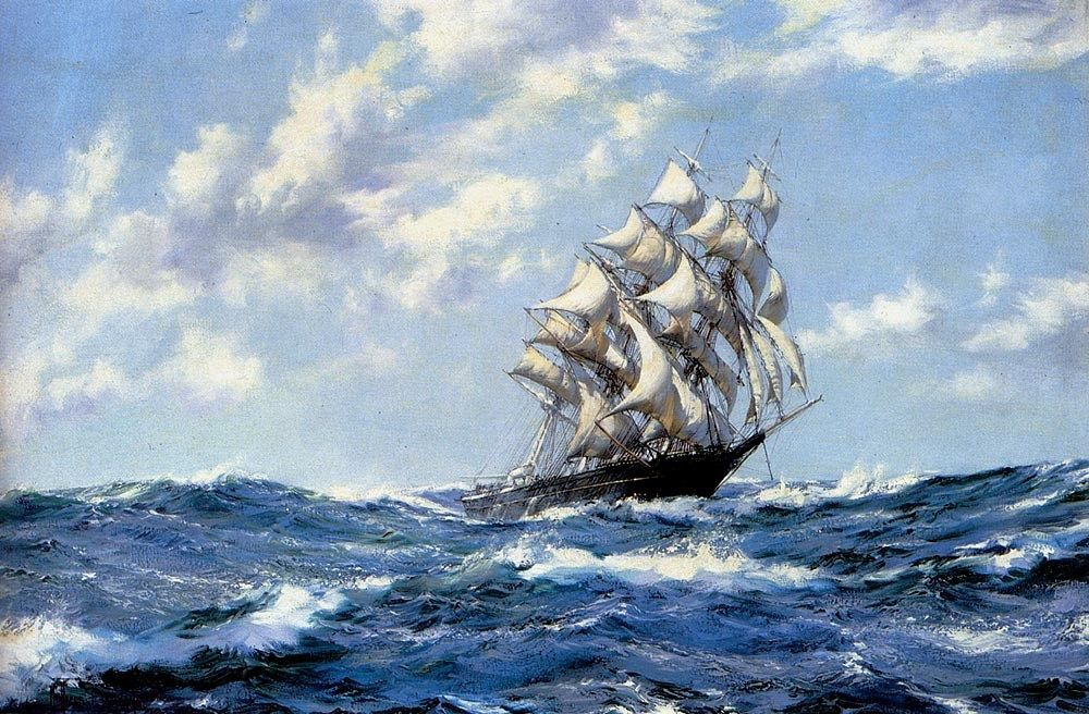Montague Dawson The Clipper Ship Blue Jacket On Choppy Seas