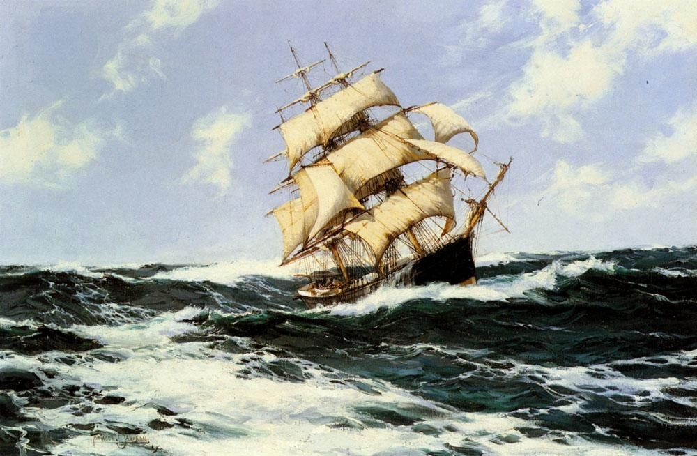 Montague Dawson The Pacific Combers on the Open Seas