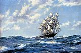 Montague Dawson The Clipper Ship Blue Jacket On Choppy Seas painting