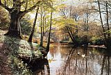 Landscape paintings - A River Landscape in Springtime by Peder Mork Monsted