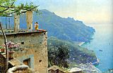 Mediterranean paintings - The Ravello Coastline by Peder Mork Monsted