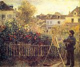 Pierre Auguste Renoir Claude Monet Painting in his Garden at Argenteuil painting