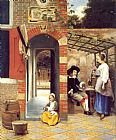 Pieter de Hooch Figures Drinking in a Courtyard painting