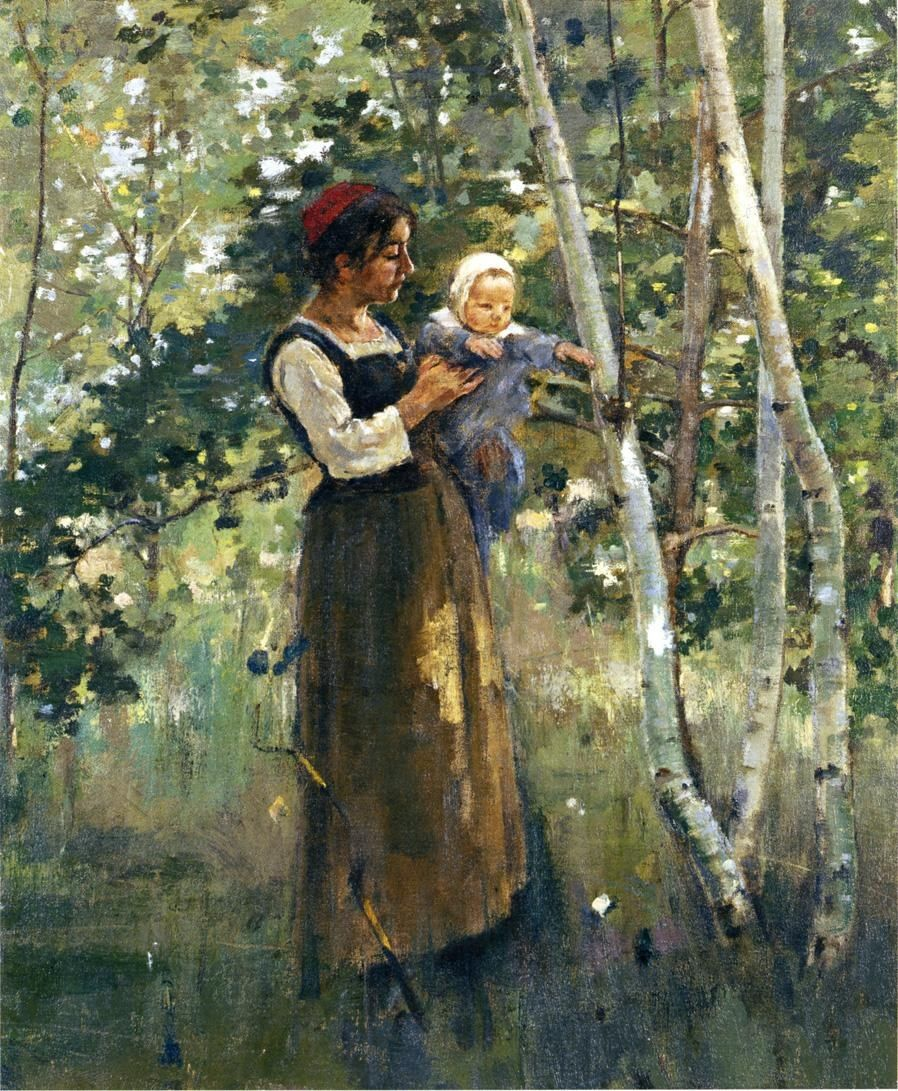 Theodore Robinson Mother and Child by the Hearth