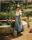 Theodore Robinson At the Fountain painting