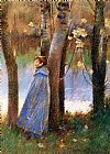 Theodore Robinson Figure in a Landscape painting