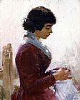 Theodore Robinson Girl in Red Sewing painting