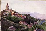 eze cote dazur france Paintings - Houses in France