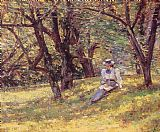 Theodore Robinson In the Orchard painting