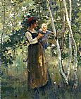 Theodore Robinson Mother and Child by the Hearth painting