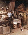 Theodore Robinson The Apprentice Blacksmith painting