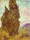 Vincent van Gogh Two Cypresses painting