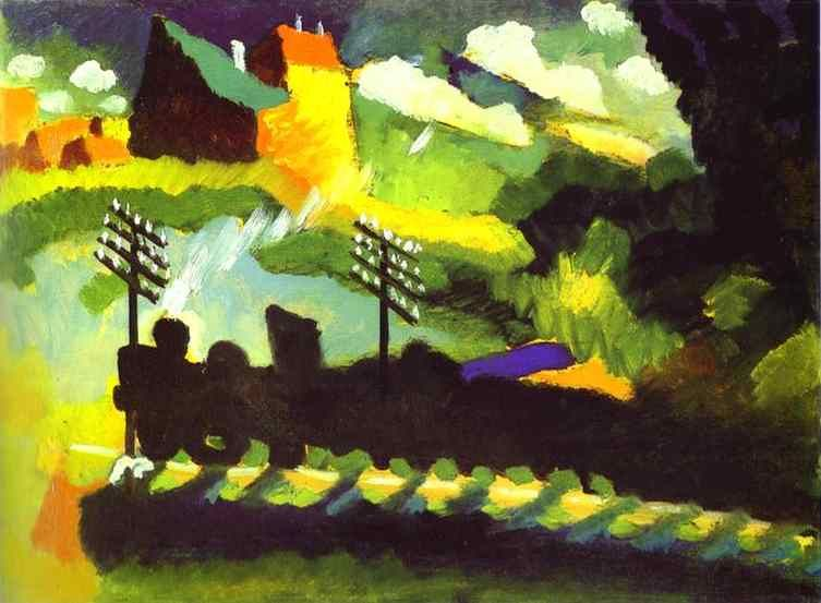 Wassily Kandinsky Murnau-View with Railroad and Castle
