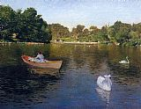 lake como Paintings - On the Lake Central Park
