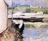 William Merritt Chase Sheds and Schooner Gloucester painting