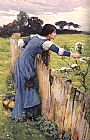 john william waterhouse Paintings - waterhouse The Flower Picker