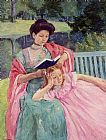 Mary Cassatt Auguste Reading to Her Daughter painting