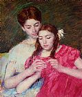 Mary Cassatt The Crochet Lesson painting